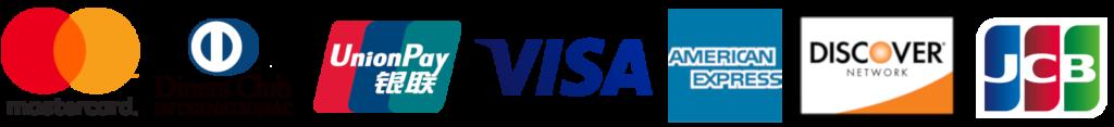 Credit Card Logos - Visa, MasterCard, China UnionPay, Discover