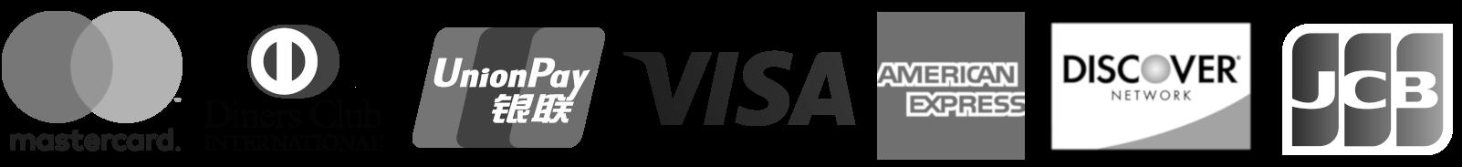 Credit Card Logos: Visa, MasterCard, UnionPay