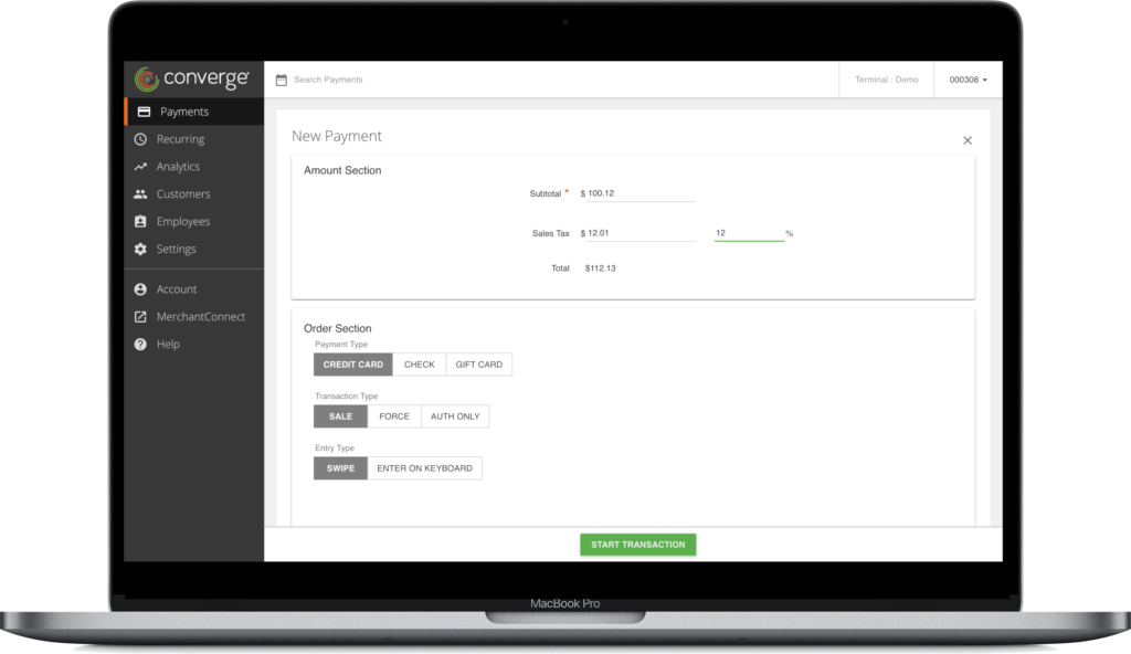 New payment with virtual terminal by Clearly Payments