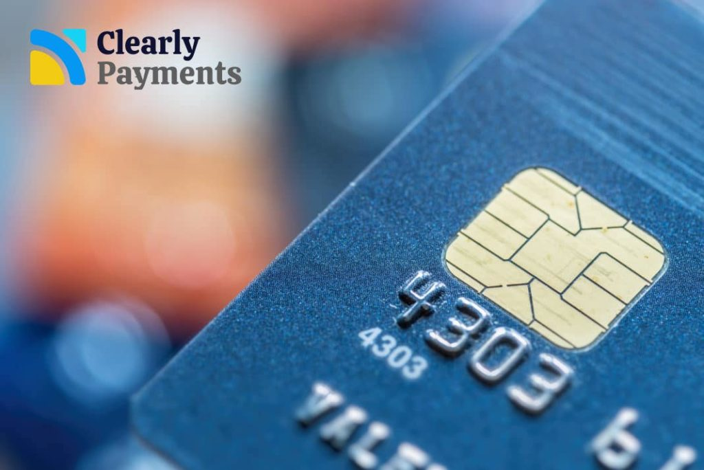 EMV credit card with a chip for chip-and-pin transactions